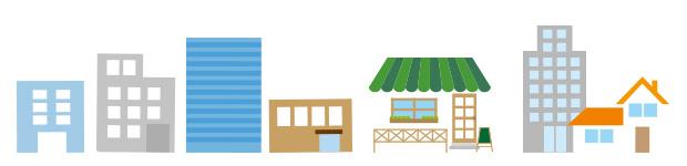 飲食店と会社のイラスト